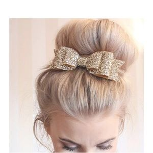 Accessories - Gold Sequin Hair Bow